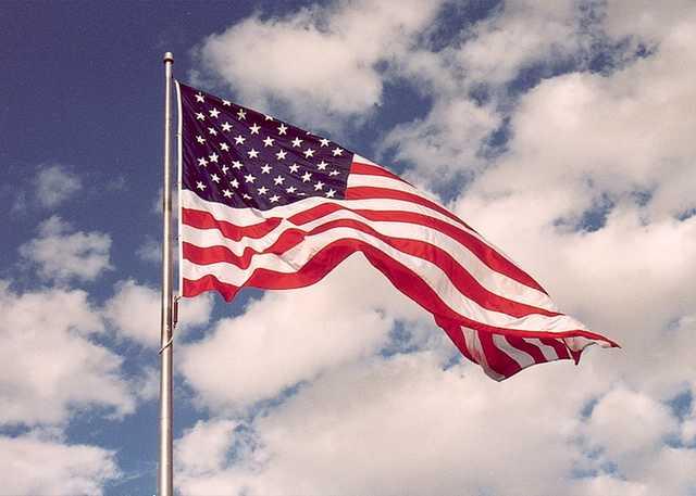Displaying the American flag