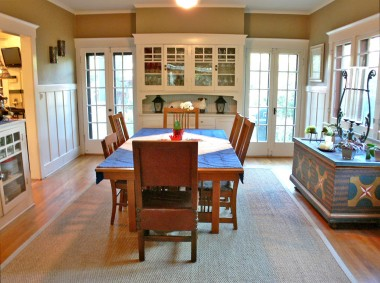Enormous and extremely functional formal dining room with French doors to the backyard, a built-in hutch and a built-in buffet!