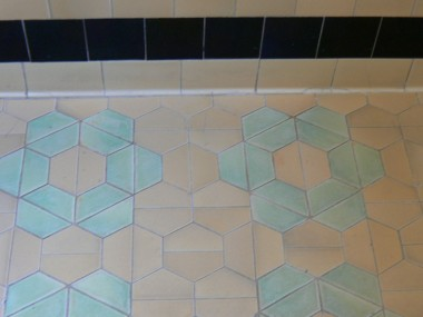 Very unique original floor tile in bathroom! Great conversation piece!