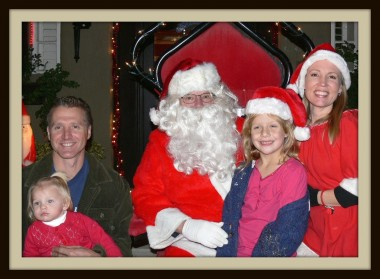 "Eddie, Brooklynn, Santa, Gracie and Tara at our 1st annual ""Cookies with Santa"""