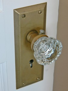 An original glass door knob.