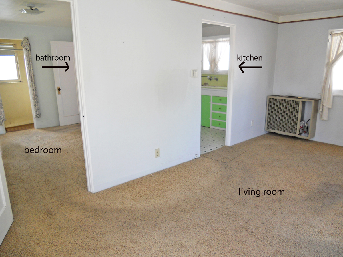 Guest apartment with living room, kitchen, bedroom and bathroom! Needs some cleaning -- same person rented here for almost 25 years!