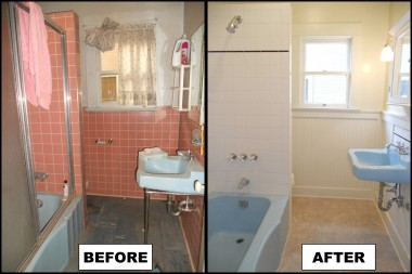Downstairs bathroom -- before and after. An amazing transformation!