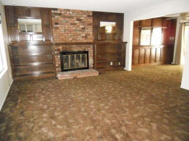 Large living room that merges into separate formal dining room obviously needs new carpet, but what a great room with fireplace and built-in shelves!