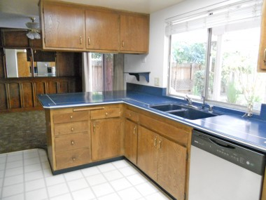 Kitchen with Corian counter tops, dishwasher and lots of cabinetry.