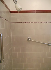 The original shower tile is so stunningly clean, that it looks brand new! Look at the tile inlay closely -- little swans!