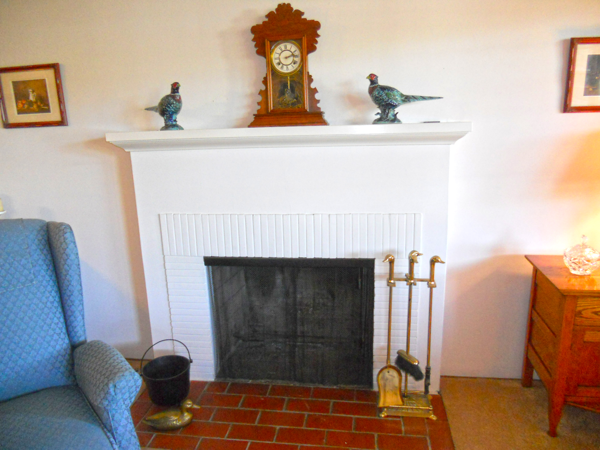 Gas and wood-burning fireplace with mantle