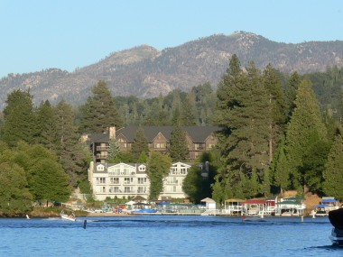 View of one of the many multi-million dollar homes lining Lake Arrowhead!