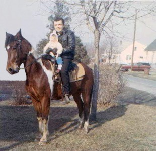 April and Dad on Comanche, winter 1965, Croydon PA