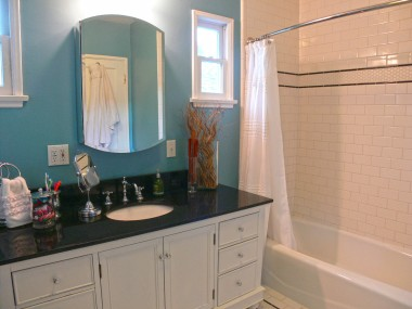 Subway tile in shower enclosure.