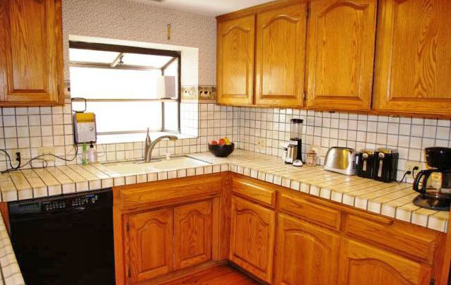 updated kitchen with recently refinished cabinets
