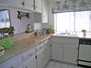Kitchen with pass-thru to family room.