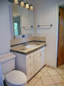 Completely remodeled master bathroom.