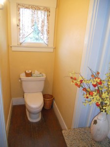 Downstairs bathroom adjoining guest room/office, also accessible through laundry room.