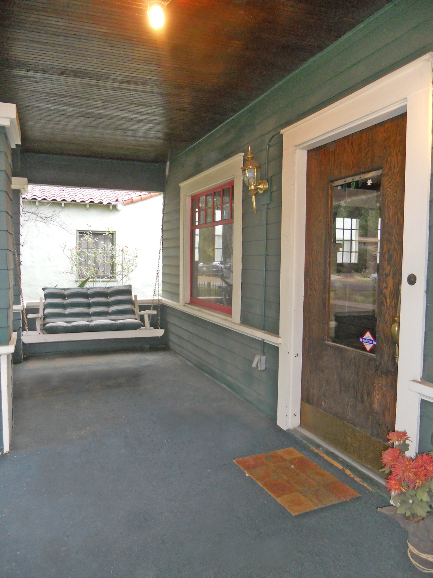 Large Wraparound Porch With Wood Ceiling Gorgeous Windows And Original Front Door