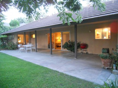 Covered patio perfect for year-round entertaining. Note the low-maintenance concrete roof!