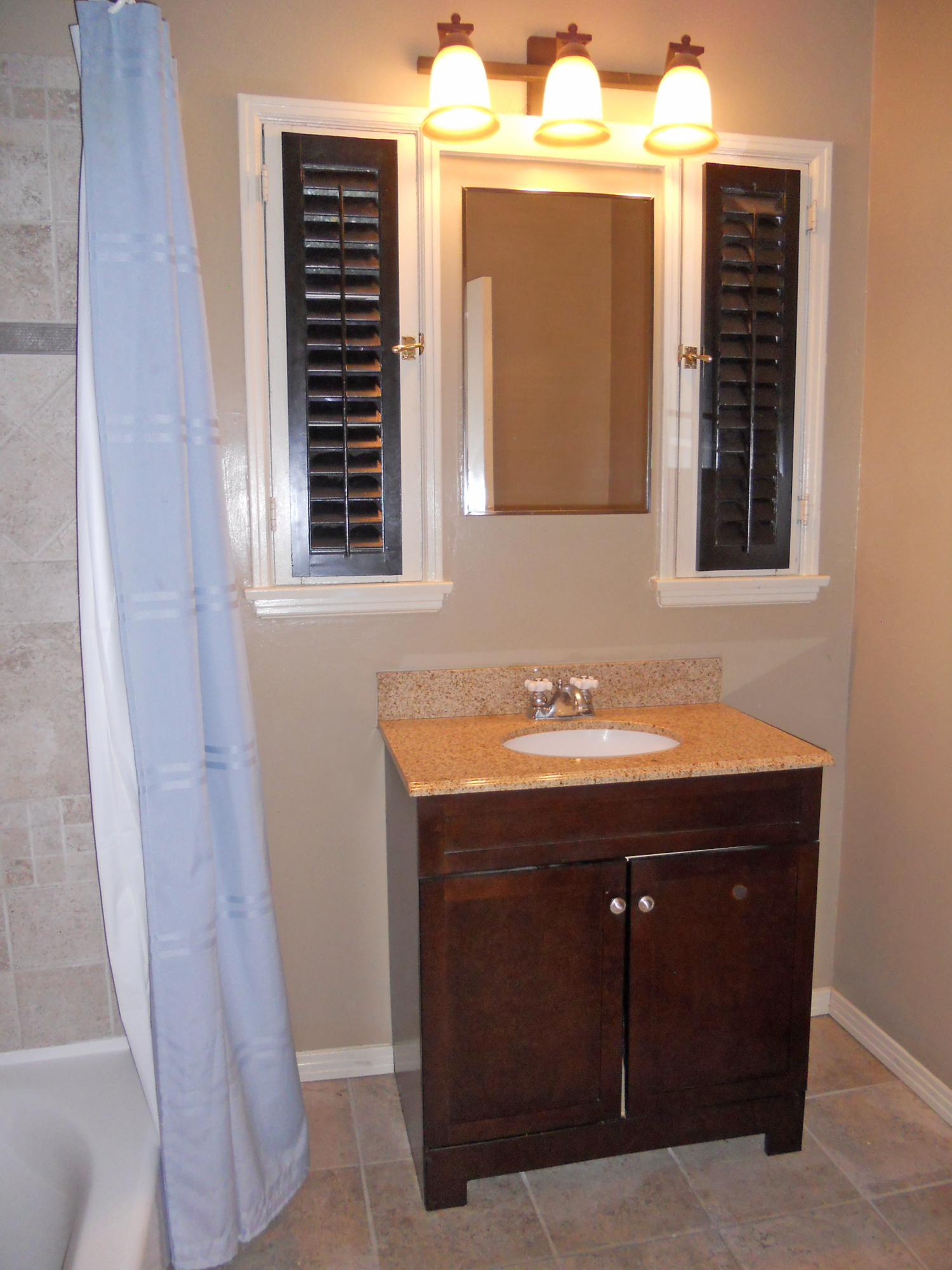 Inspirational Remodeled hall bathroom with tile floor new vanity new toilet new tub