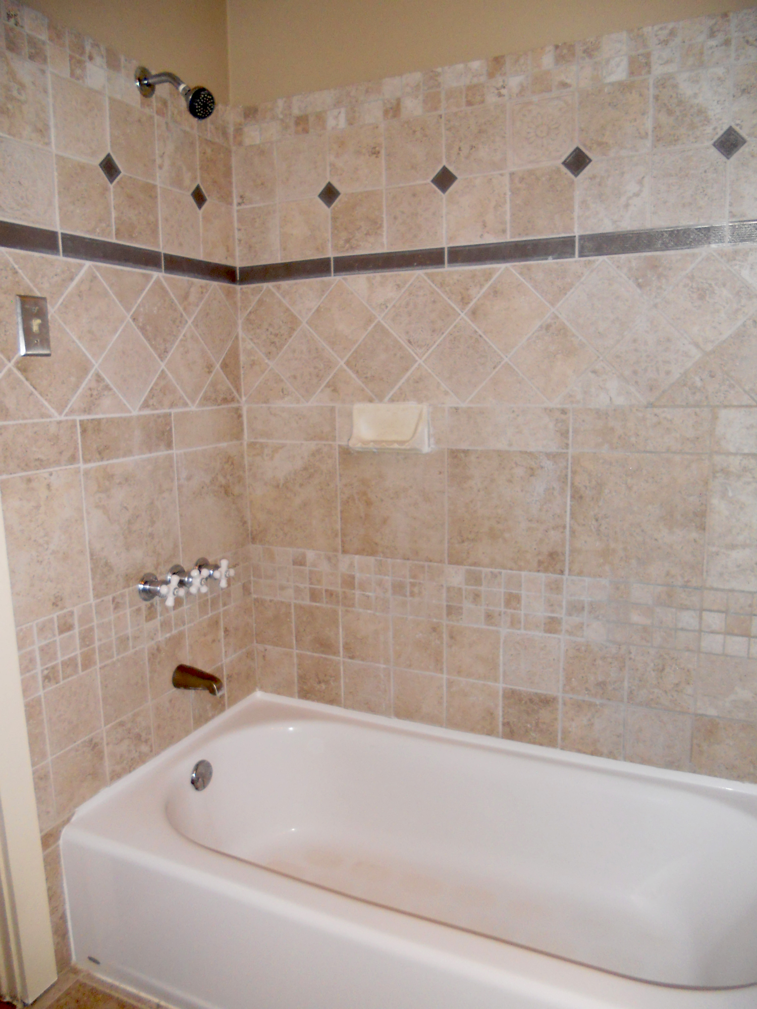 Trend Remodeled hall bathroom new tub and tiled enclosure Gorgeous