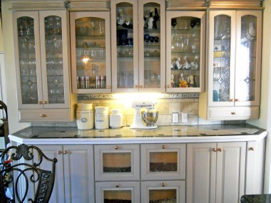 Spacious kitchen hutch with even more couner space and under counter lighting.
