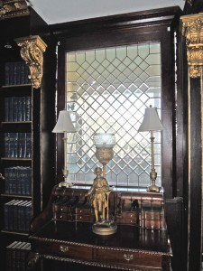Gorgeous etched glass window in library.