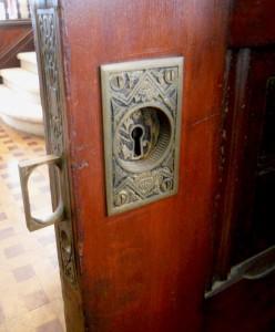 Magnified view of original 122-yr-old pocket door hardware!