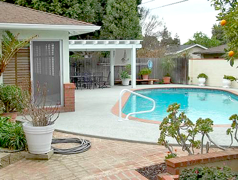 Lovely backyard with inground pool and citrus trees.
