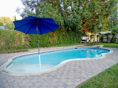 Newer beach entry pool with diving board. The beach entry is perfect if you have small children, or just want to lounge in the shallow end.
