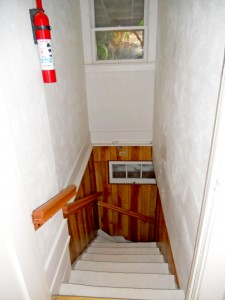 Stairway (access through kitchen) to finished basement.