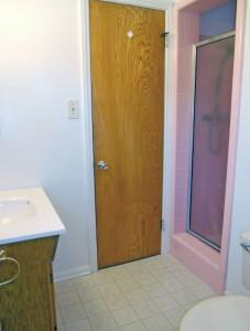3/4 bathroom off the back bedroom.