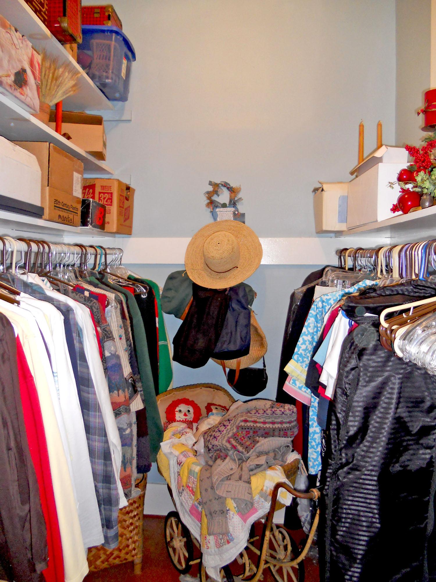Walk-in closet for back bedroom.