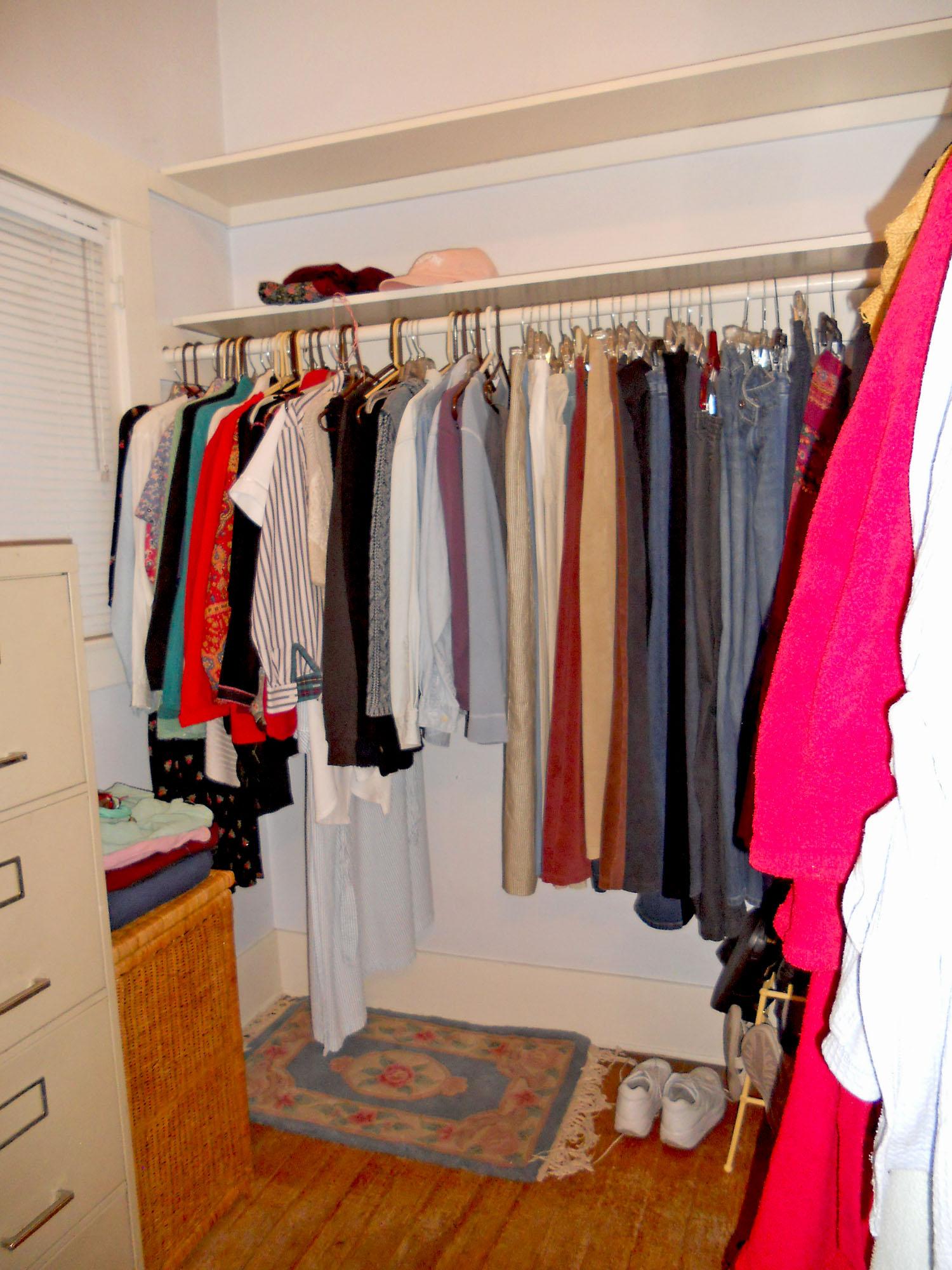 Walk-in closet for front bedroom.