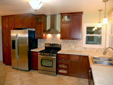 Gorgeous remodeled kitchen with stainless steel appliances.