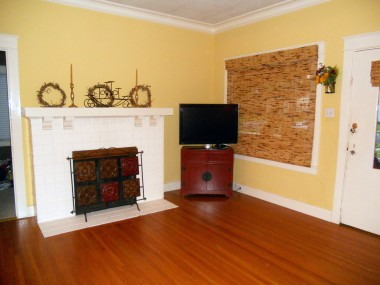 Alternate view of living room facing fireplace (gas and wood burning).