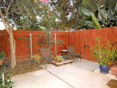 Backyard with mature shade tree and lots of plants. Small tree behind chairs will be removed prior to close of escrow.
