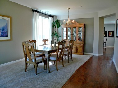 Formal living room and dining room combination.