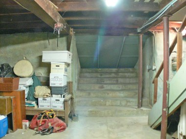 View of basement steps accessed via backyard. This basement is huge, and is perfect for storage, etc.