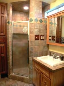 Remodeled upstairs three-quarter bathroom.