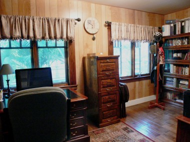 Bonus room/office with newer hardwood floors and double pane windows could be 4th bedroom. Hang curtains on French doors for privacy if needed.
