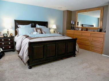Alternate view of master bedroom with built-in dresser.