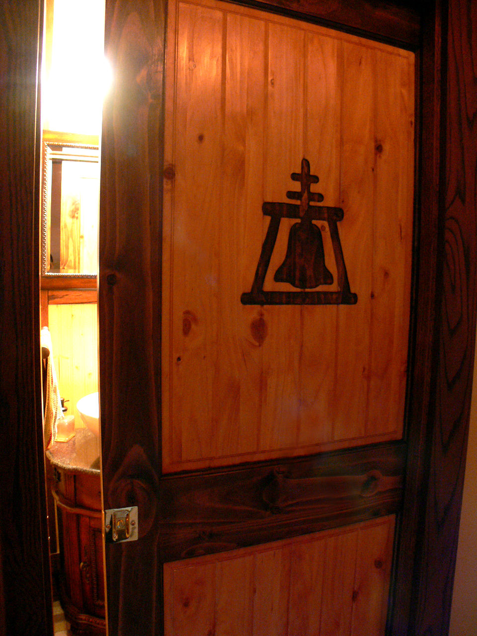Riverside Rain Cross Emblem Etched Into Wooden Pocket Door To Half Bath In  Laundry Room. There Is Enough Space In This Room To Pop Out Part Of This  Wall To ...
