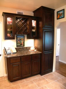 Built-in wine rack and glass-fronted cabinets to display your heirloom dishes.