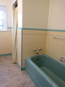 Original green bathtub and separate shower stall.