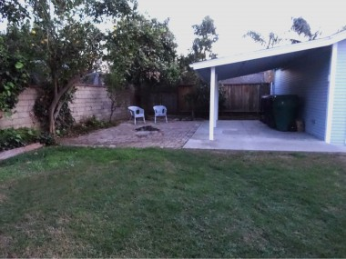 Backyard with fruit trees and a covered patio attached to garage. Some outdoor furniture and twinkle lights and you're ready to entertain!