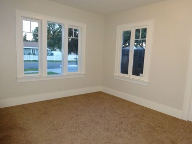 One of the three bedrooms, all of which have brand new carpeting and paint.