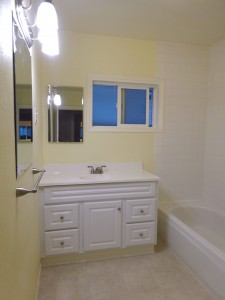 Hall bathroom with new vanity, new flooring, and new privacy window.