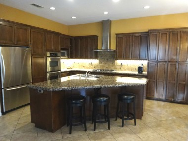 Completely remodeled kitchen with  granite counter tops, new cabinetry,  stainless steel appliances and informal  eating area as well. Kitchen overlooks  the large family room too.
