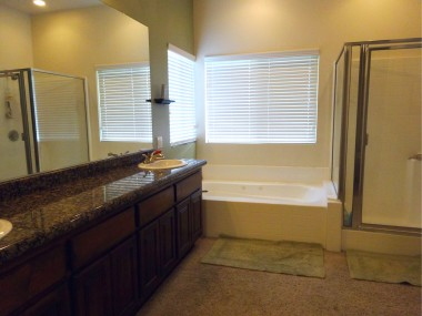 Master bathroom with spa tub, dual  sinks with granite counter and huge  walk-in closet.