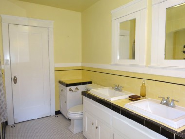 Alternate view of hallway bathroom. Very large and bright.