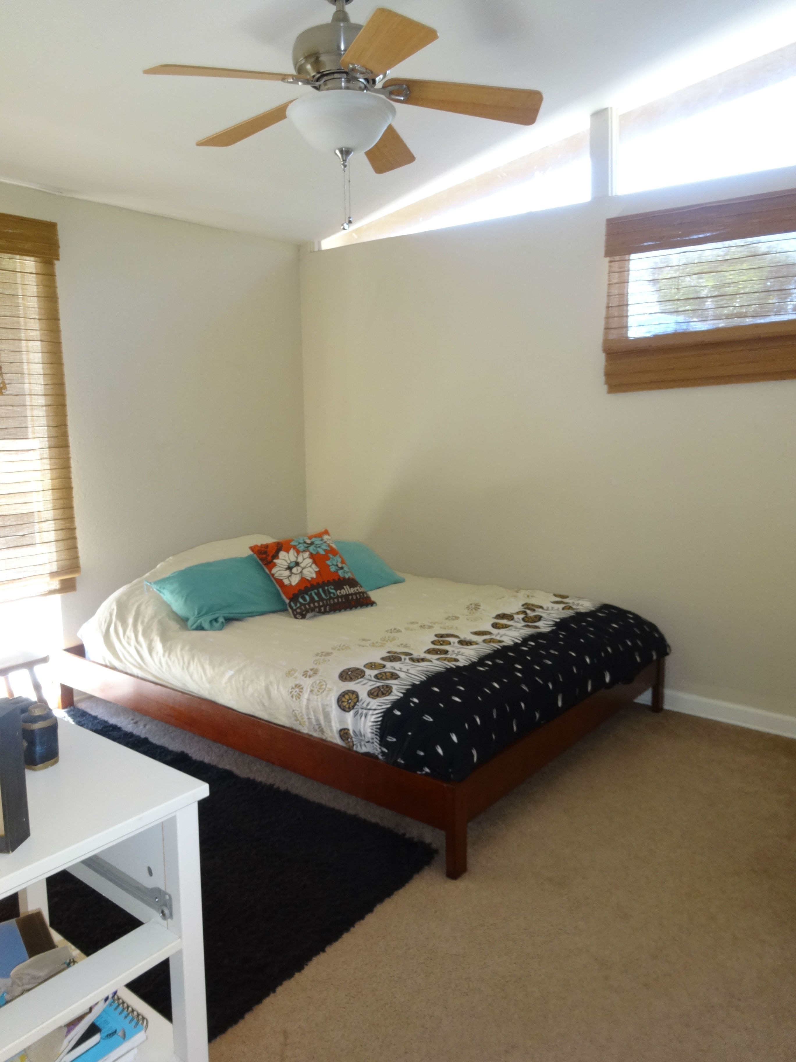 Second bedroom with ceiling fan, cathedral ceiling and ample closet space.
