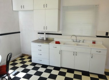 Adorable kitchen with original metal retro cabinetry in terrific condition.